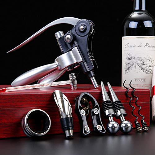 XDLYM Abrebotellas de Vino Tinto con sacacorchos de Conejo, Accesorios de sacacorchos de Vino de Acero Inoxidable, Juego de Regalo con Estuche de Madera,Plata