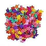 HUICHEN 20 PCS/たくさんのミックス色のカニ花蝶ハートの弓髪の爪プラスチックヘアピンクリップバレッタのために女の子のヘアアクセサリー (Color : Flower)