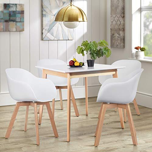 HOMYCASA Mesa redonda/cuadrada moderna mesa de comedor 80 cm muebles de cocina comedor para 4 personas (madera)