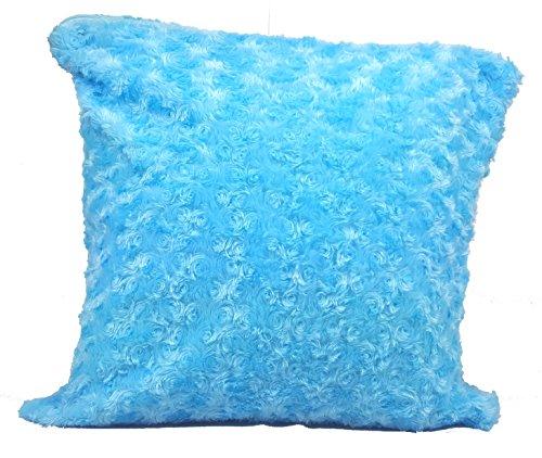 Couvre-lit Home Décoration florale fourrure moelleuse Canapé en peluche douce de luxe Housse de coussin Bleu ciel