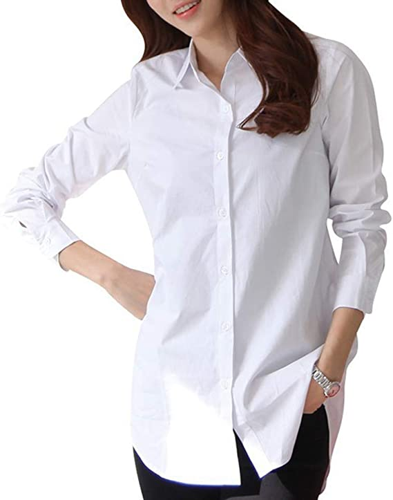 Blusa para Mujer - Blusas Blancas De Manga Larga Camisas con Cuello Blusa Camisa - Tops Sueltos De Otoño Cuello Vuelto Manga Larga - 100% Algodón