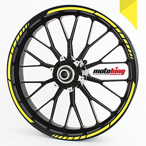 Motoking Adhesivos para Borde de llanta Amarillo de azufre - Juego Completo de 15' a 19' / Color Opcionales