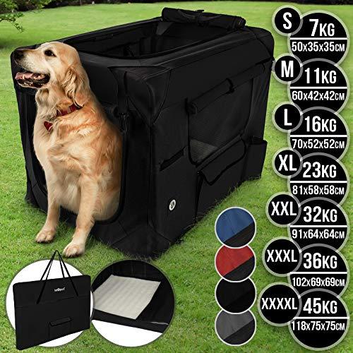 Hundebox aus Stoff - faltbar, zusammengefaltet tragbar, abwaschbar, Farbwahl, Größenwahl S-XXXXL - Hundetransportbox, Auto Transportbox, Katzenbox für Hunde, Katzen und Kleintiere (XXXXL, Schwarz)