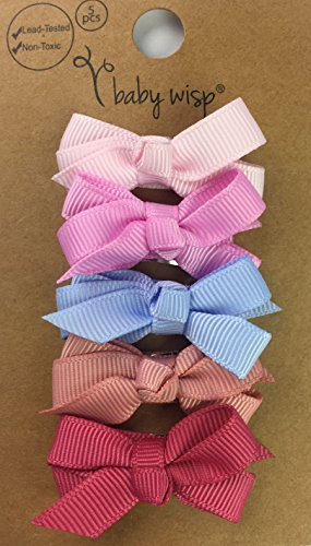 Baby Wisp 5 Boutique Hair Bows Baby Girls - Little Miss Vintage Colors Gift Set