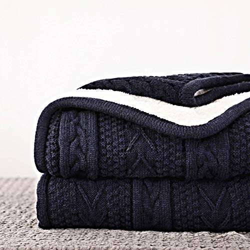 Longhui bedding Acrylic Cable Knit Sherpa Throw Blanket - Thick, Soft, Big, Cozy Navy Knitted Fleece Blankets for Couch, Sofa, Bed - Large 60 x 80 Inches Navy Coverlet, 5.2 Pounds