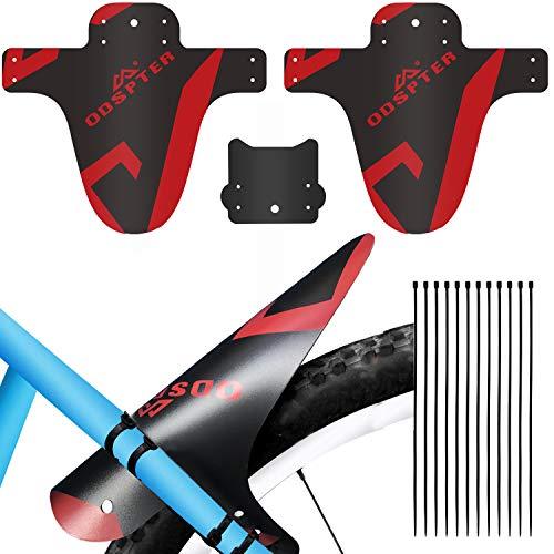 ODSPTER Schutzblech MTB Fahrrad, Vorne Hinten Schutzbleche Mountainbike Fahrrad Spritzschutz mit Kabelbinder für 26-29 Zoll Mud Guard (Rot 2 PCS)