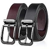 MEIRUIER Cuero Cinturón Reversible,Perfecto Regalo,Cinturon Hombre Cuero Negro Marrón Jeans Reversible Piel para Hombres Clásico Negocios Casual (Negro&marrón, 120cm(Cintura32-42'))