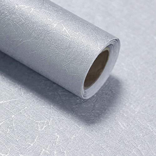 HeloHo Silberfarbene Tapete mit geprägter Seide, zum Abziehen und Aufkleben, selbstklebend, ablösbar, wasserdicht, für Möbel und Schränke, 299,7 x 39,9 cm