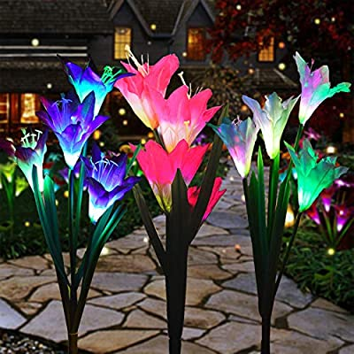 Changyun Outdoor Solar Garden Stake Lights,3 Pack Solar Powered Lights with 12 Lily Flower, Multi-Color Changing LED Solar Landscape Lighting Light for Garden, Patio, Backyard Decor