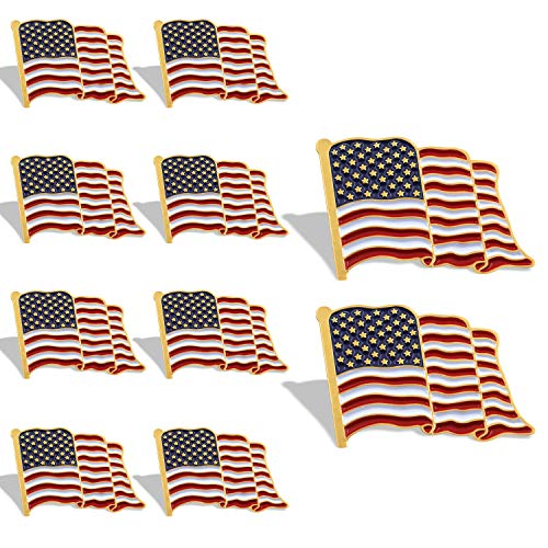 Anley American Flag Lapel Pin - Waving US Flag Pins Patriotic American Emblem - Exquisite Enamel & Vivid Color & Lightweight & Durable - 10 Pin