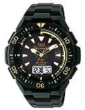 [シチズン Q&Q] 腕時計 アナログ 電波 ソーラー 防水 日付 ウレタンベルト MD06-312 メンズ ブラック × ゴールド