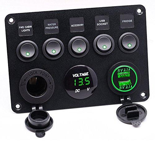 5 Gang Kippschalter Panel mit Dual USB Steckdose ät 4.2A + Wasserdicht LED Voltmeter +Zigarettenanzünder für 12 V ~ 24V Auto Boot Marine LKW SUV Baufahrzeug (Grün)