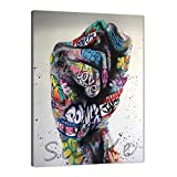 WeiYang Inspirational Graffiti Wall Art Pictures Colorful Graffiti Fist Posters Painting Prints on Canvas Modern Street Pop Art Artwork Home Decorations for Living Room Bedroom Office - 18'x24'
