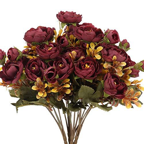 HUAESIN 4 Pcs Künstliche Blumen Pfingstrosen Kunstblumen Rosen Blumen Vintage Seidenblumen Herbst Deko Blumen Unecht für Hochzeit Party Zimmer Büro Vase Tischdeko Dekoration Dunkelrot