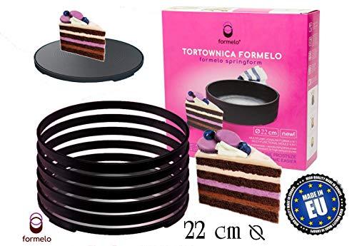 Formelo Tortenschneider Set Backform und Tortenboden Uns Schneidhilfe besteht aus 5 Backringen 22 cm zum einfachen Schichten Schneiden - Machen Sie jetzt die perfekte Cremeschicht