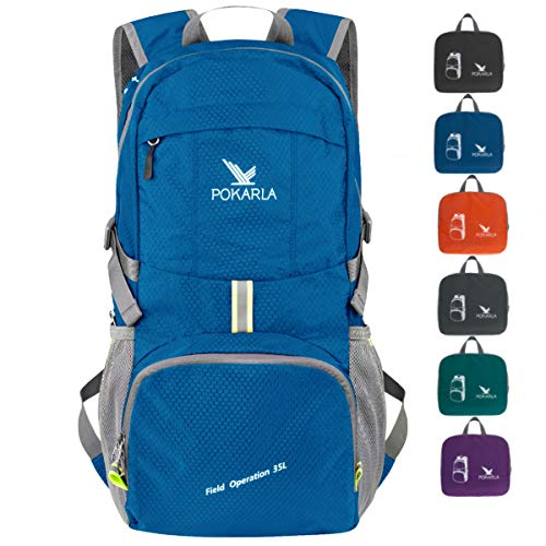 POKARLA 35L Foldable Rucksacks Durable Lightweight Backpack Water Resistant Travel Hiking Daypack Packable Carry On Bag Unisex Outdoor Sports Blue