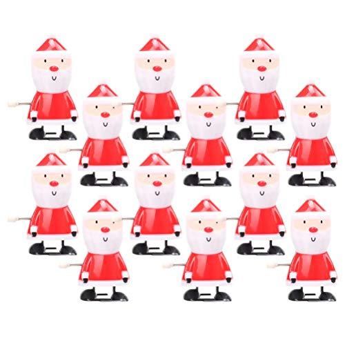 Weihnachtsmann Figur Aufziehspielzeug, Aufziehspielzeug Aufziehfigur Wind Up Weihnachtsmann Figur Uhrwerk Spielzeug Weihnachten Geschenk für Baby Kinder- 12 Stück