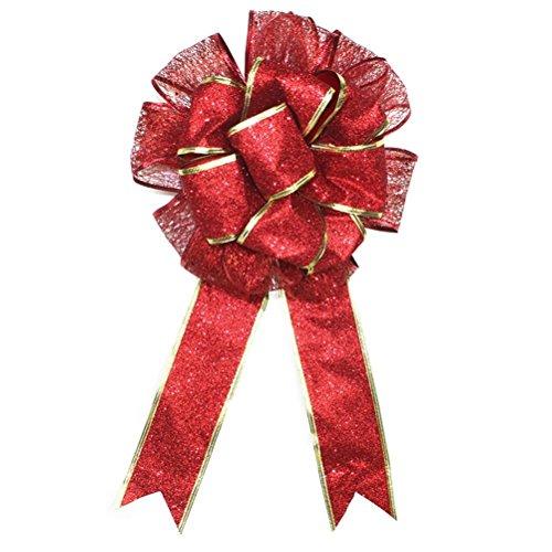 BinaryABC Christmas Tree Topper Bow,Christmas Bowknot Ornaments,Christmas Decorations(Red)
