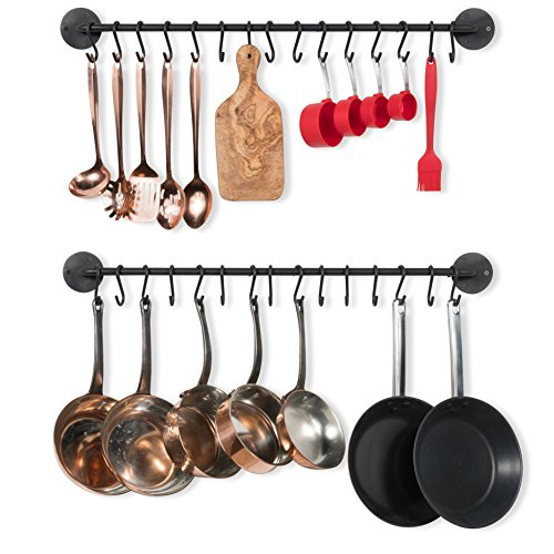 Wallniture Kitchen Pot Racks, Set of 2 Wall Rails with 20 Hooks, Solid Iron, 33 inches by 2 inches by 4 inches, Black