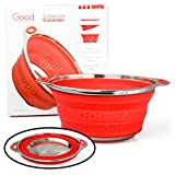 """Collapsible Colander Pasta Strainer with Stainless Steel Base (Extra Large 9.5"""" Diamater)- 100% Food Grade Silicone and BPA Free"""
