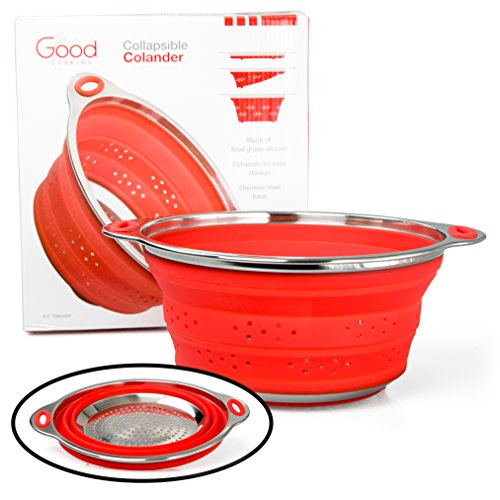 Collapsible Colander Pasta Strainer with Stainless Steel Base (Extra Large 9.5