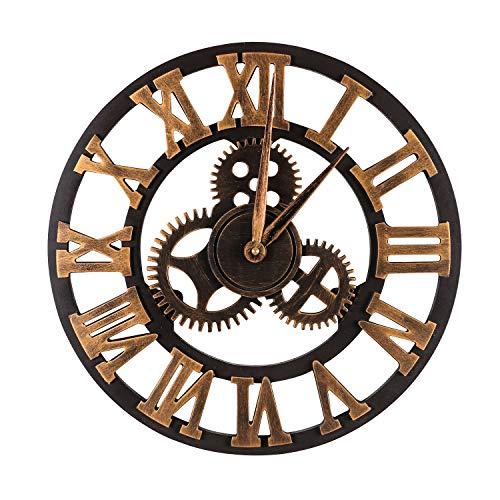 Mengshen Reloj De Pared Decorativo Retro De Gran Tamaño - De Madera Y Silencioso (Dorado, 19.7 Pulgadas, Números Romanos)