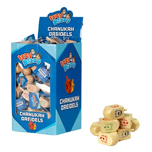 Ner Mitzvah 100 Small Dreidels - Natural Wood - Classic Chanukah Spinning Draidel Game, Gift and Prize - Bulk Value Pack - by Izzy 'n' Diz