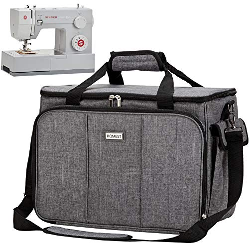 HOMEST Sewing Machine Carrying Case with Multiple Storage Pockets, Universal Tote Bag with Shoulder Strap Compatible with Most Standard Singer, Brother, Janome, Grey (Patent Design)