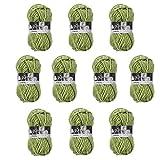 Melissa Pack Hilo Acrílico Ovillos de Lanas de Hilo Lana Prémium Hilados Madejas - Perfecto para DIY y Tejer a Mano, Color Verde (50 g * 10 unidades)