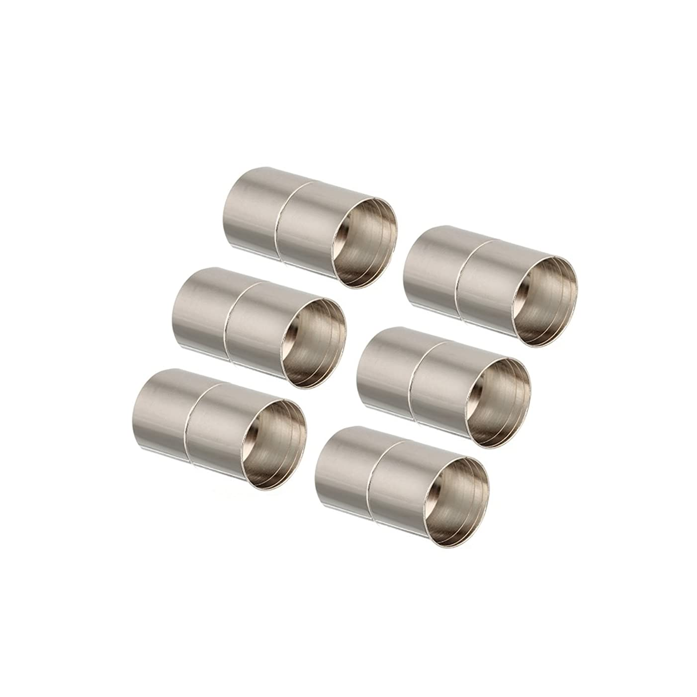 Linsoir Beads Rhodium Tone Inner Hole Size 10mm Glue-in Magnetic Clasps for 10mm Cords Pack of 10 Sets