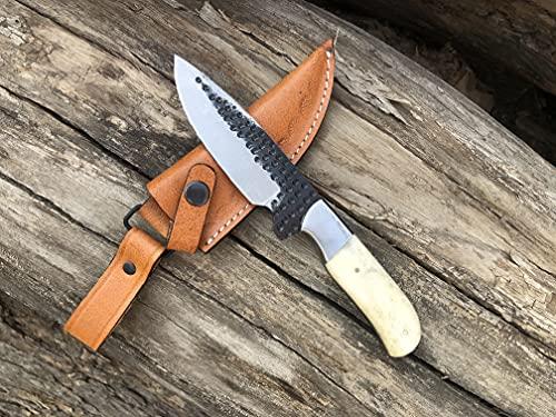 Custom Handmade Hunting Knife with Bone Handle Knife Fixed Blade - Partially Serrated Hunting Knife with Genuine Cowhide Leather Sheath Cutlery Era CK-338