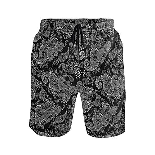 136 Bañador para hombre, diseño de cachemira, color blanco y negro, de secado rápido, con bolsillo de malla