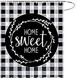 MAEZAP Fall Home Sweet Home Duschvorhang Schwarz Weiß Büffel Karo Badezimmer Dekor Wasserdicht Polyester mit Haken 175 x 177 cm