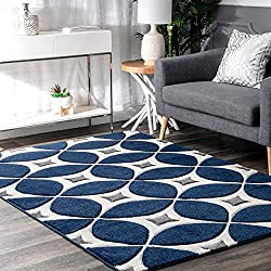 blue and gray stylish geometric area rug