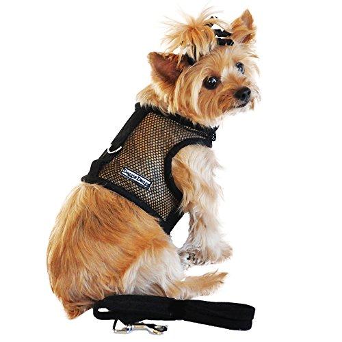 DOGGIE DESIGN Cool Mesh Dog Harness Solid Black (Small)