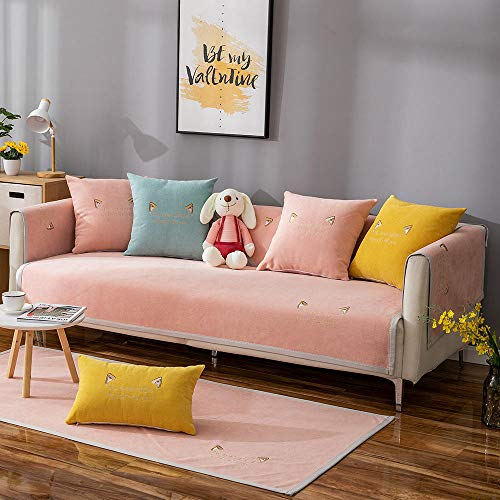 YUTJK Cojines de sofá de Gato Invisible,Cotton Printed Corner Sofa Slipcover,Living Room Fabric Sofa Seat Covers,Furniture Protector Cover,para Primavera,Rosado