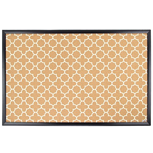 U Brands Cork Bulletin Board, 35 x 23 Inches, Black Wood Frame, Fashion Design Print (306U00-01)