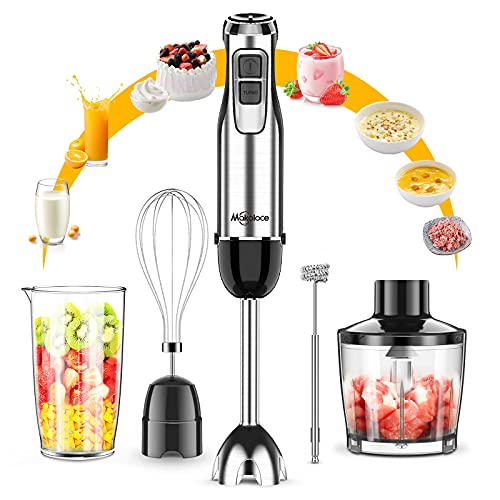Immersion Hand Blender Makoloce 5-in-1 800W 12-Speed Immersion Blender Handheld Stainless Steel With Whisk, Milk Frother, Chopper, Grinder Bowl, Measuring Cup for Puree, Baby Food, Smoothies, Sauces