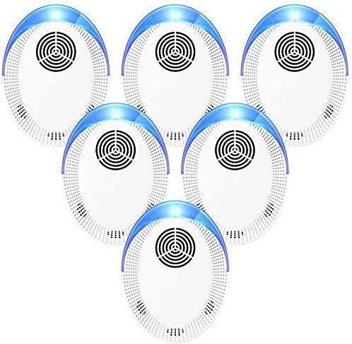 Ultrasonic Pe st Repellent(6 Pack), 2021 Repeller Indoor, Electronic Ultrasonic Repellent - for Pest, Cockroaches, Mouse, Ants, Mosquitoes, Spiders, Fleas and Flies