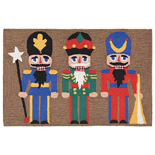 Liora Manne Teppich für die Veranda 3 Weihnachten, neutral, für drinnen und draußen, 50,8 x 76,2 cm, für DREI Hunde Nussknacker 2' x 3' Best in Snow