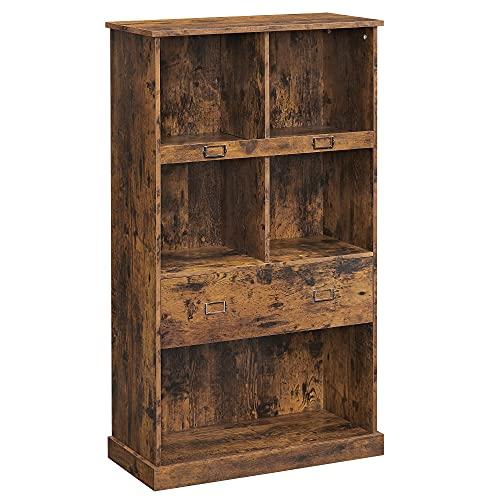 VASAGLE Bücherregal, 4 Ebenen, Aufbewahrungsschrank mit Etikettenhaltern und Einer Schublade, Bibliothek, für Büro, Wohnzimmer, Schlafzimmer, 67,5 x 30 x 120 cm, vintagebraun LBC092X01