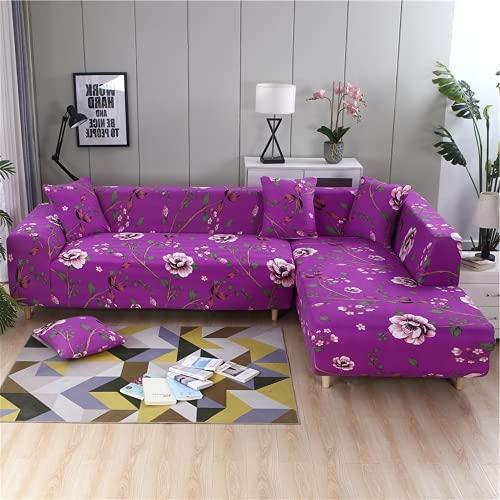 FENFANGAN Fundas para Sofa Chaise Longue elasticas, sofás de Esquina para Sala de Estar, Protector de sofá, Tela de Microfibra Estampada, Suave y cómoda sin decoloración (color14,4-Seater 230-290cm)