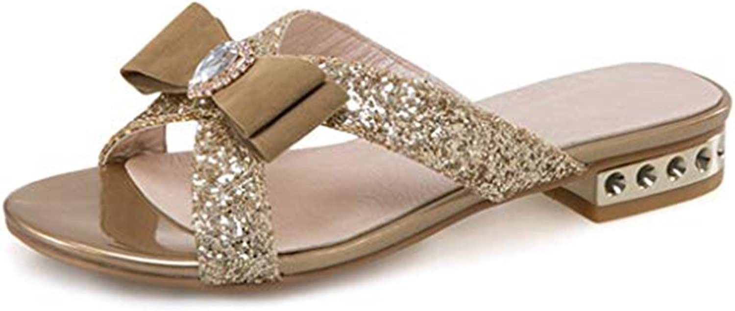 Women's Bowknot Sparkle Glitter Sequins Slide Sandals Open Toe Low Block Heel Slip On Dress Slippers
