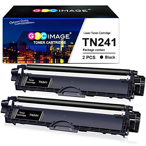 GPC Image TN 241 BK TN-241BK Cartouche de Toner Compatible pour Brother MFC-9330CDW DCP-9020CDW MFC-9340CDW HL-3140CW HL-3150CDW MFC-9140CDN HL-3170CDW DCP-9015CDW (2 Noir)