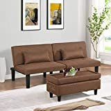 Convertible Futon Sofa Bed Couch with Ottoman Footstool or Coffee Table - Modern Tufted Linen Loveseat Sleeper Sofa Bed with 8 Sturdy Legs and 2 Lumbar Pillows for Small Room, Apartment (Black)