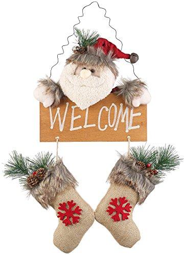 infactory Dekofiguren Weihnachten: Weihnachtsmann-Tür-Dekoration mit Welcome-Schriftzug, zum Aufhängen (Türdeko)