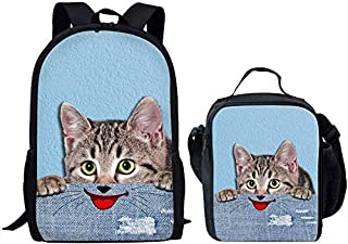 Elegant Chic Fantacy 3D Cat Printing Backpack+Thermal Insulated Lunch Bag,Colour Name:Bull Terrier Backpack+lunch Bag (Col...