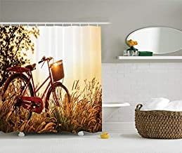 Classic Bicycle Shower Curtain Set, Retro Style Bike in Sepia Tones Romantic Sunset Picture, Bathroom Accessories, 71 x 79...