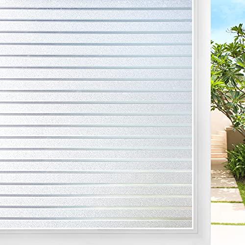 DOWELL Sichtschutz Fensterfolie Streifen Sichtschutzfolie Fenster Sichtschutz Selbsthaftend Glasfolie Milchglas Folie Scheibenfolie Blickdicht für Bad Duschkabine Badfenster Büro Glastür 44.5x200cm