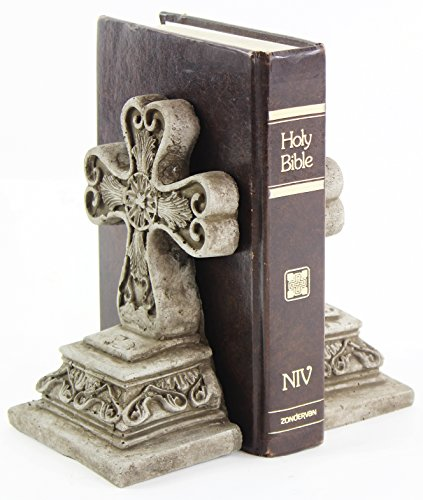 Fleur de Lis Garden Ornaments LLC Cross Concrete Bookends Heavy Book Holders Religious Statuary for Church Home and Office Decor
